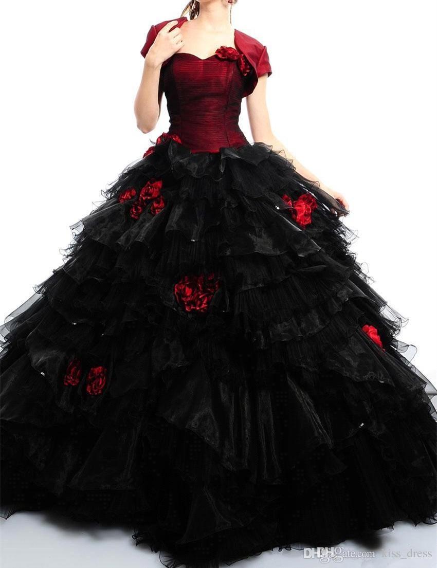 Nuevo Rojo y Negro Vestidos de Quinceañera Chaquetas emparejadas Ventas calientes Flor hecha a mano Cariño Tul Organza Vestido de bola Vestidos de graduación Q100