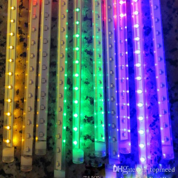 Led 2017 8 Teile / satz Schneefall LED Streifen Licht weihnachtsbeleuchtung Regenrohr Meteorschauer Regen LED-Licht Rohre 100-240 V EU / US Stecker