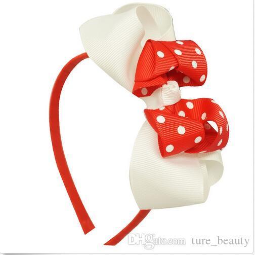 5 inç El Yapımı Grogren Yay Saç Hoop Polka Noktalar Ile Baskı Için Kız Şerit Saç Bandı Saç Aksesuarları 15 adet /