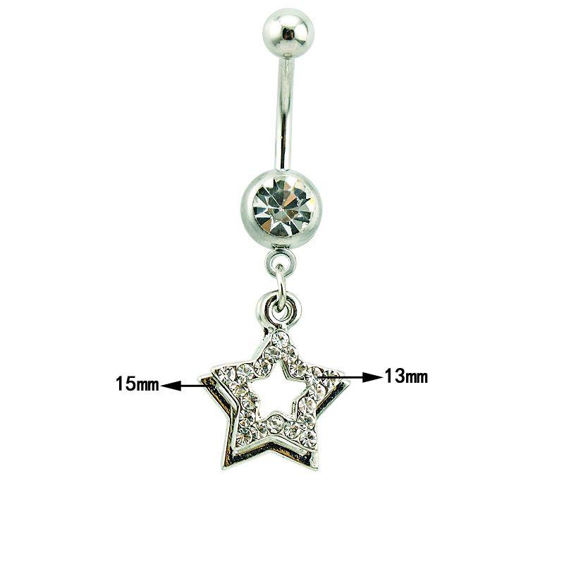 Bijoux De Corps Mode Belly Anneaux En Acier Inoxydable 316L Barbell Balancent Double Étoile Navel Piercing Bijoux