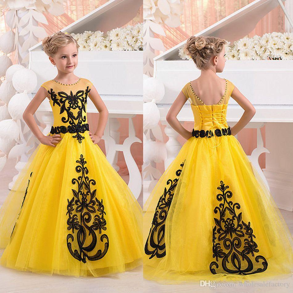 2017 Sheer Jewel Neck Girls Pageant Dresses Princess