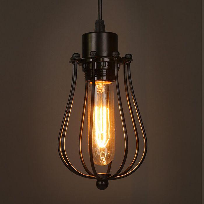 vintage loft lustre pendant lights industrial cage pendant lamps bar counter hanging light. Black Bedroom Furniture Sets. Home Design Ideas