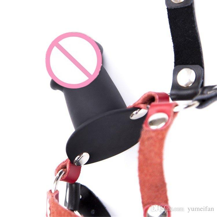 Soft Leather Thick Short Penis Head Harness Gag Face Strap On Dildo Harness Bondage Fetish Restraint Sex Products