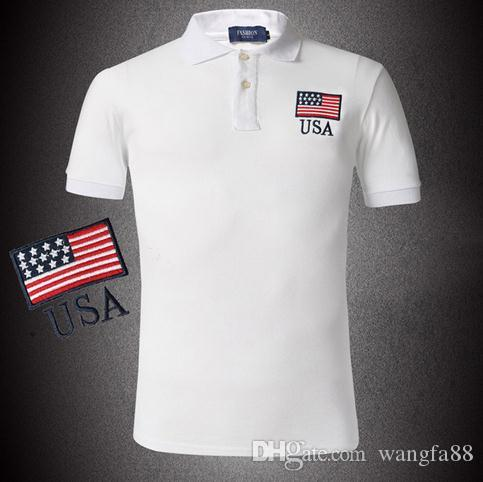 4d6c4d0c2788 2019 Fashion 2015 Summer Men Polo Shirt Flag Style Black Yellow White Plus  Size Embroidery Breathable Cotton Polo Shirts From Wangfa88