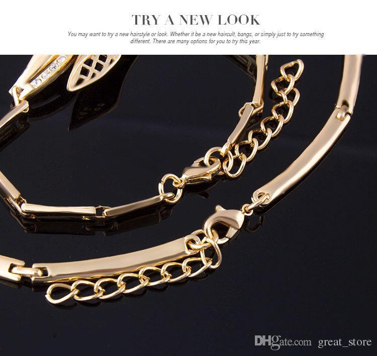 Ensembles de bijoux de haute qualité en corne de pierres précieuses blanches collier bracelet boucles d'oreilles anneaux de mariage 18K bijoux en or famille de quatre GTOMKS054