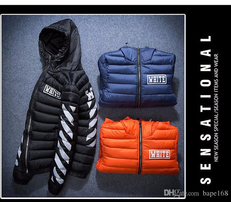 2017 Off White Brand Men Thick Warm Cotton Padded Hoodie Jacket ...