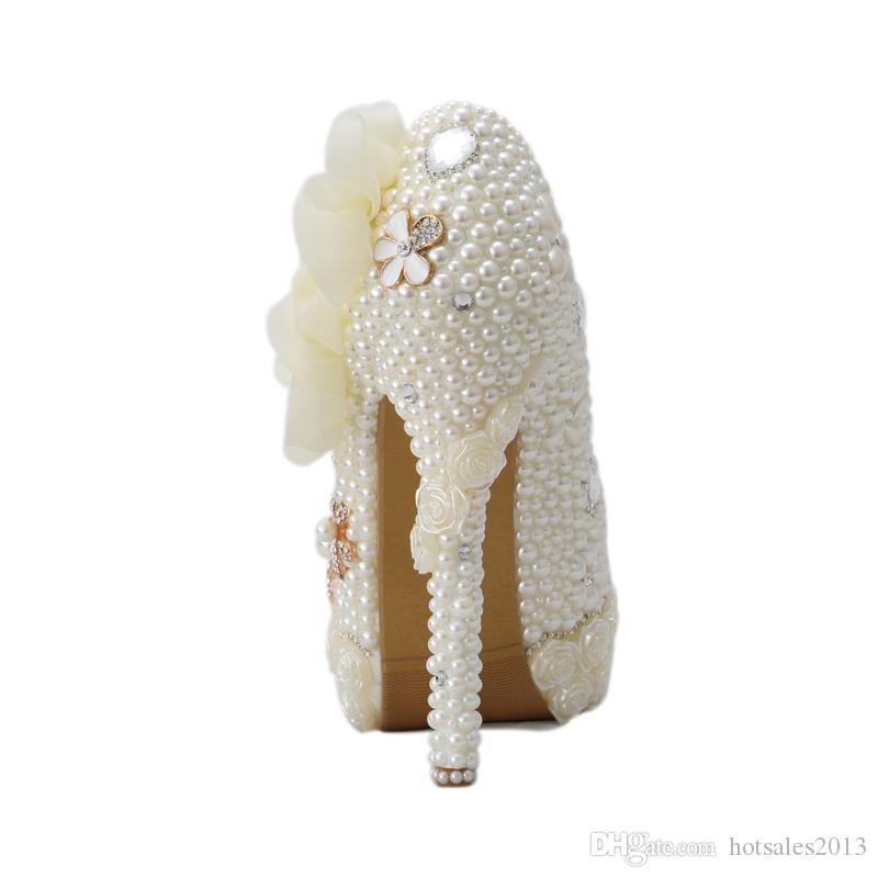 Exclusive New Style Wedding Shoes White Pearl High Heel Platform Bridal Wedding Pumps Luxurious Rose Flower Diamond Prom Shoes
