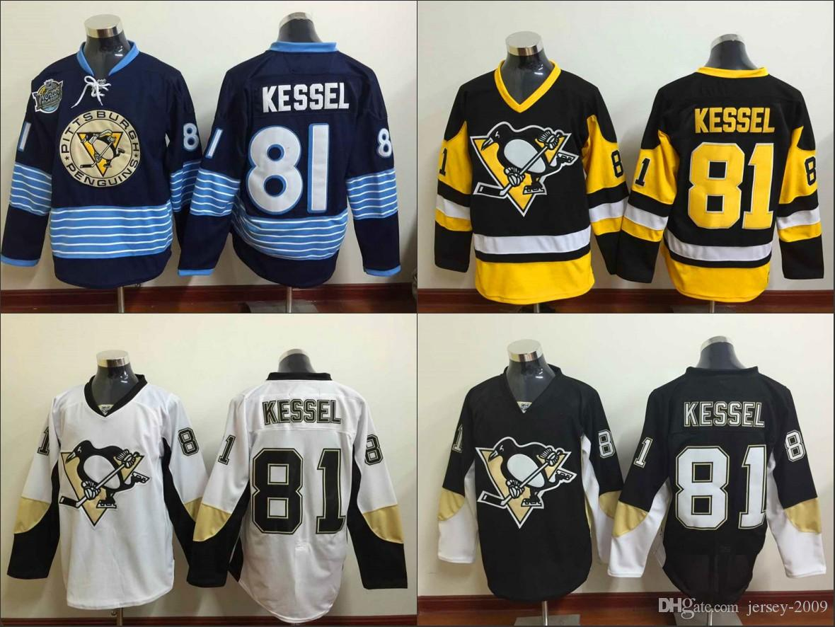 best sneakers d5e4d 97828 2017 Stanley Cup Champions Pittsburgh Penguins Ice Hockey Jerseys 81 Phil  Kessel Jersey Men Home Third Alternate Blue White Stitched Quality