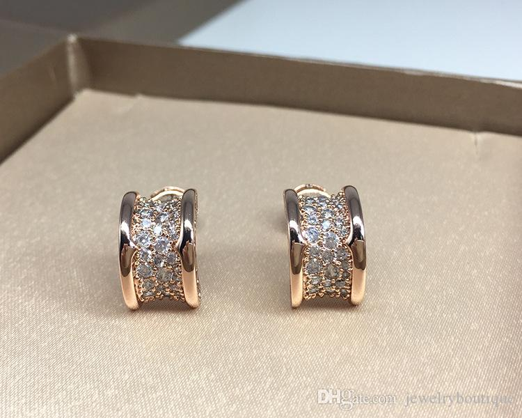 Sale on now 316L Titanium steel Half Round Concave Stud Earrings with diamonds women earring jewlery PS5603