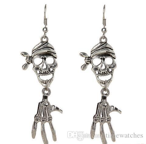 online cheap vintage halloween party skull designer long earings for women girls silver fashion skeleton charm dangle chandelier cheap china jewelry by