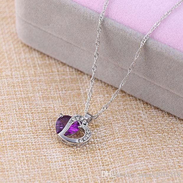 Lovely Heart Charm Necklace Crystal Gemstone Amethyst Pendant Necklace 925 Silver Plated Simple Clavicle Chain Women Gifts
