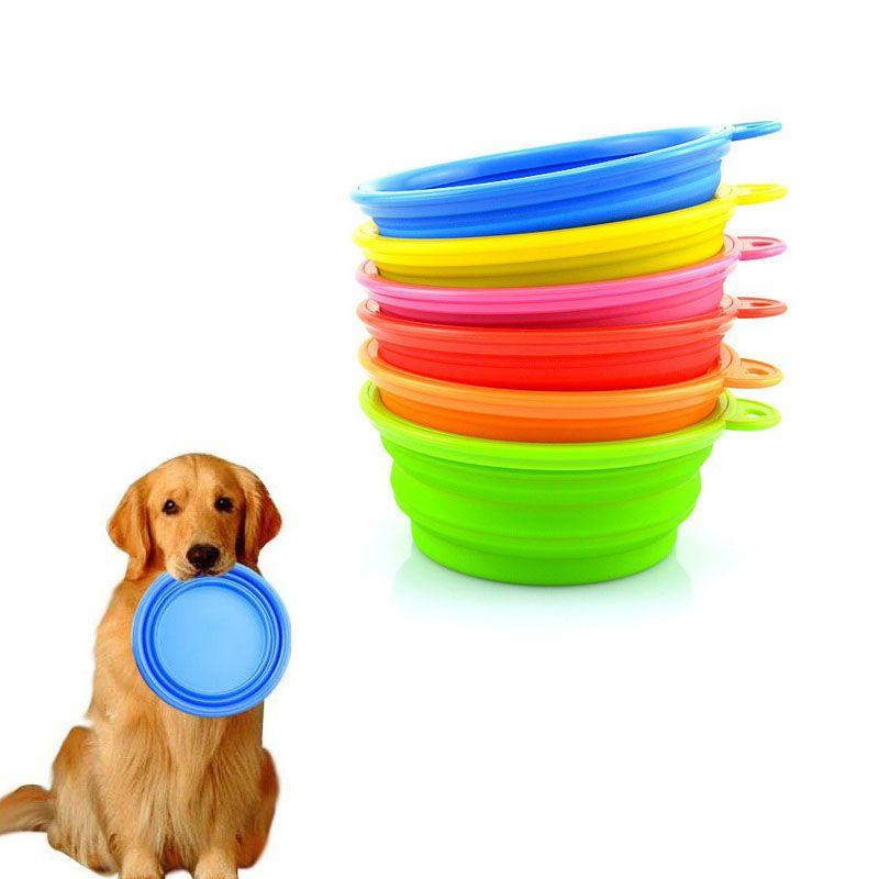 Mascotas Perros Gatos Cuencos de agua Cuencos plegables portátiles al aire libre para viajes Comida para acampar Alimentador de agua Fold Bowl Platos ZA1349