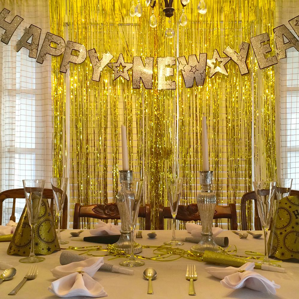 1x2M Gold Silver Foil Tinsel Curtain Wedding Party Decoration Room ...