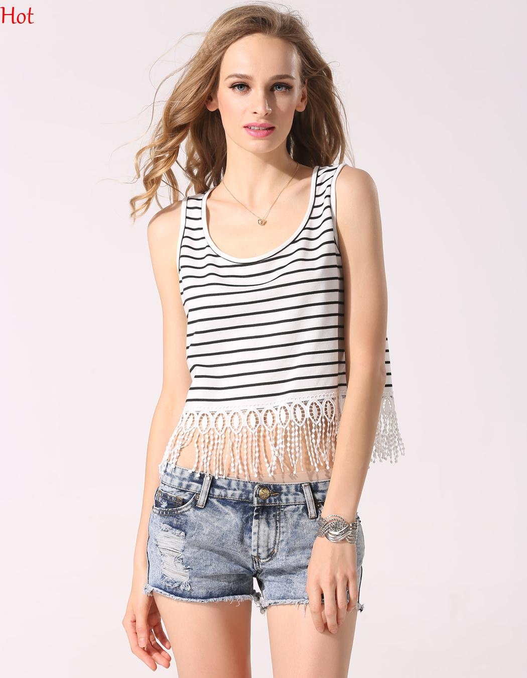 cbf1d737cf00 Hot New 2016 Women Tank Top O Neck Sleeveless Casual Camisole Top Striped  T-shirts Crochet Lace Tassel Fringe Crop Top Vest Blusas YC000308