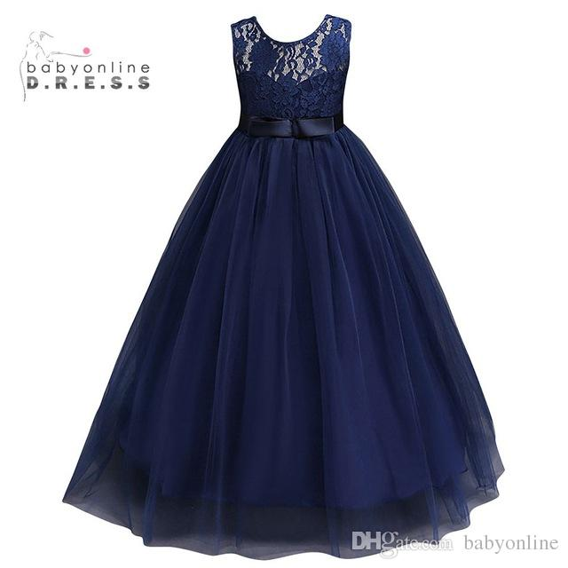 Navy Blue Cheap Flower Girl Dresses 2019 In Stock Princess A Line
