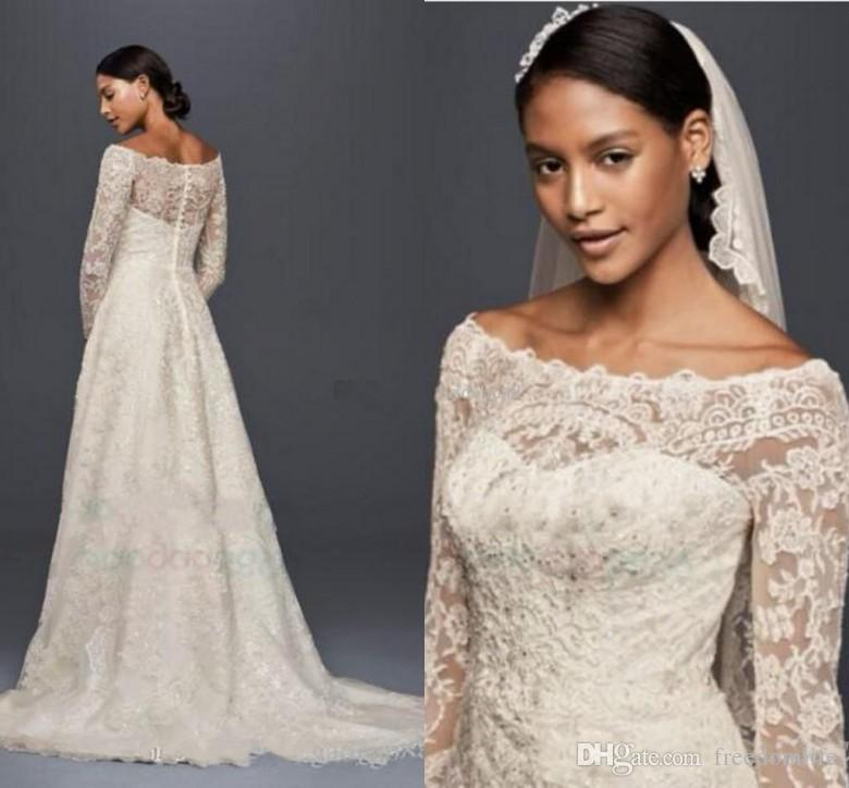 d9195f202975 Discount Modest Oleg Cassini Wedding Dresses With Long Sleeves Lace  Applique Off Shoulder Garden Outdoor Vintage Lace Plus Size Bridal Gowns A  Line Wedding ...