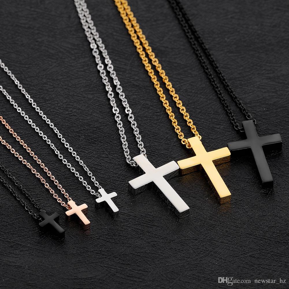 Neue Paare Kreuz Anhänger Halsketten Edelstahl Erklärung Kragen Kette Halskette Mode Kostüm Zubehör Charme Religion Schmuck Geschenke