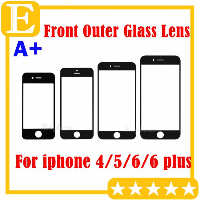 For iphone 5 6 6S plus Front Outer Glass Lens For iphone 4 4S 5C 5S Glass Touch Screen Cover Replacement Parts