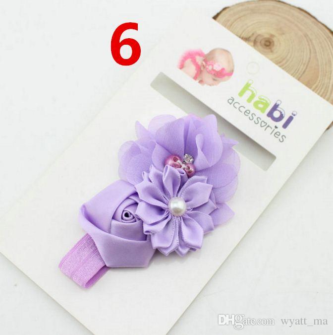 10 cores bebê meninas Flower tiaras infantil crianças pérola cetim hairbands Bandas Cabelo Acessórios Flower Elastic cabelo rendas para Crianças