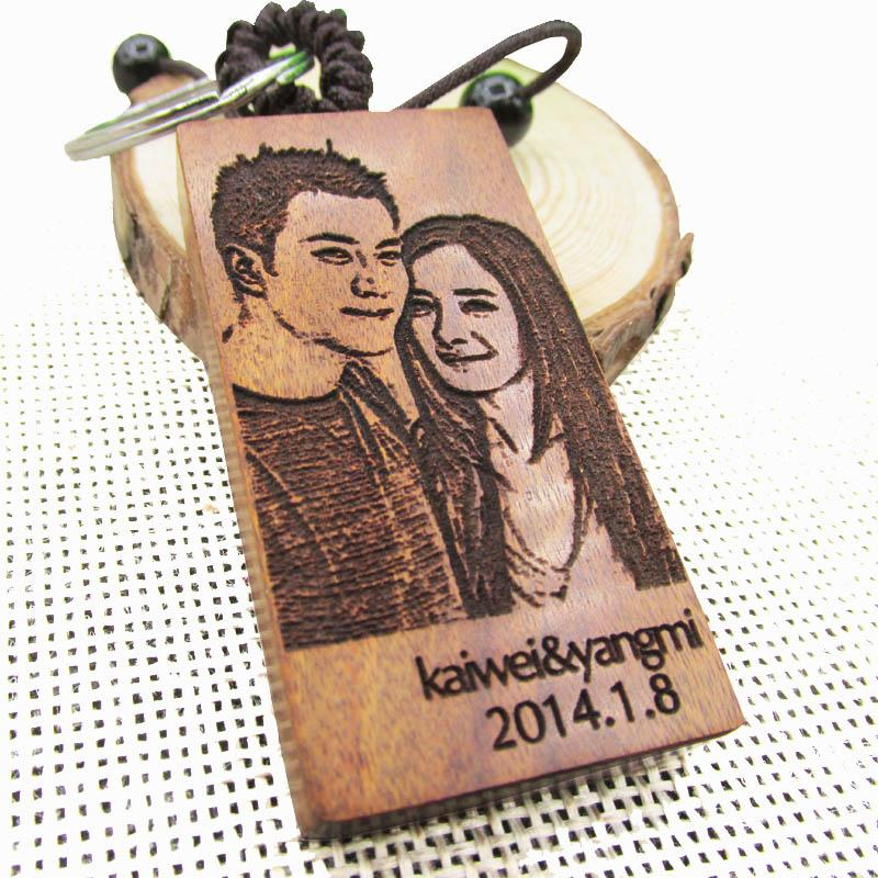 free engraved photo personalized keychain wooden rectangle key ring