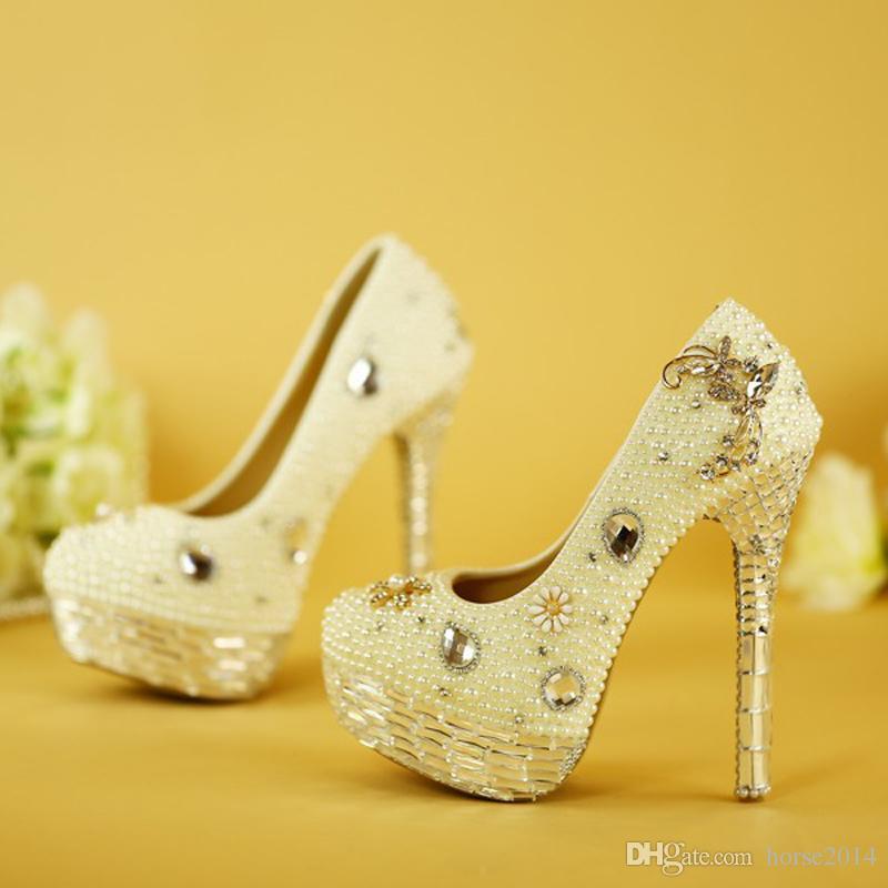 Crystal Wedding Shoes Plus Size White Pearl Bridal Dress Pumps New Design Luxury Rhinestone Platform Prom Event High Heels