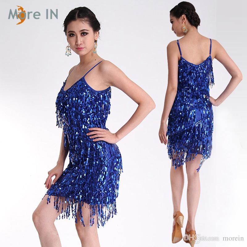 Großhandel Hot Sexy Dame Latin Kleid Sommerkleid Rot / Gold / Blau ...