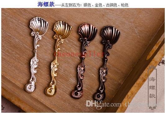 2016 Spring Fashion Royal Wind Spoon Vintage Bronze Gold Silver Coffee Spoon Ice Cream Spoon Iris Spoon Teaspoon