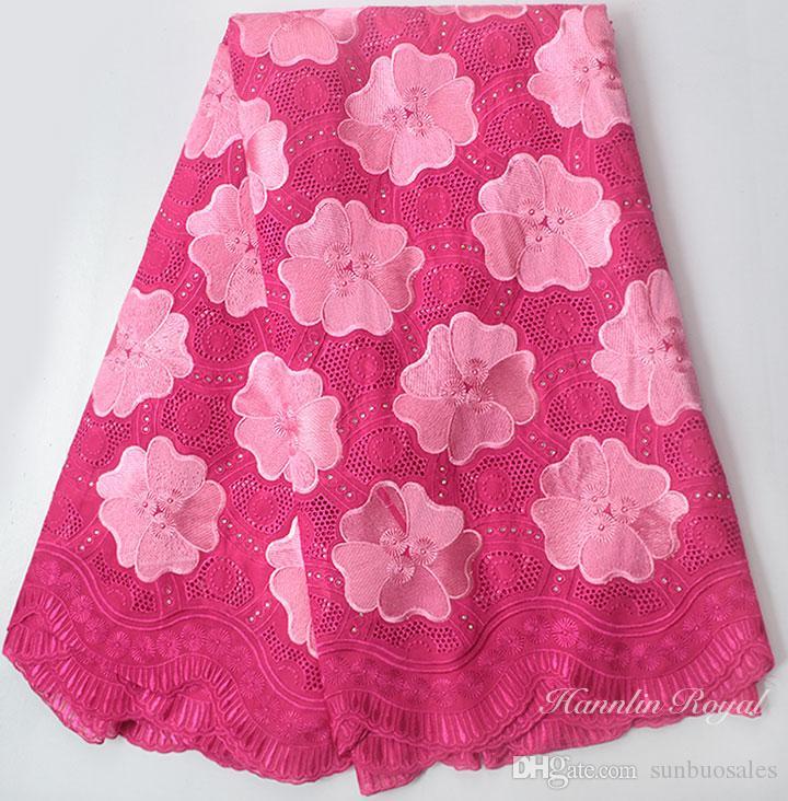 Fushia розовый мягкий Африканский хлопок кружева Африканский швейцарский вуаль кружева ткань с отверстиями высокое качество 5 ярдов 9113