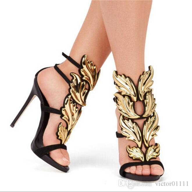2016 Black Nude Metallic Winged Gladiator Women Sandals
