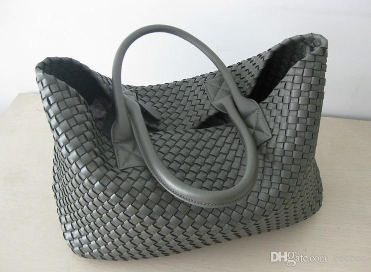 Brand New Woven-Leder wie Cross Stitch Hobo großer Handtasche der Frauen Art und Weise gesponnene Beutel-Geldbeutel beiläufig Tote