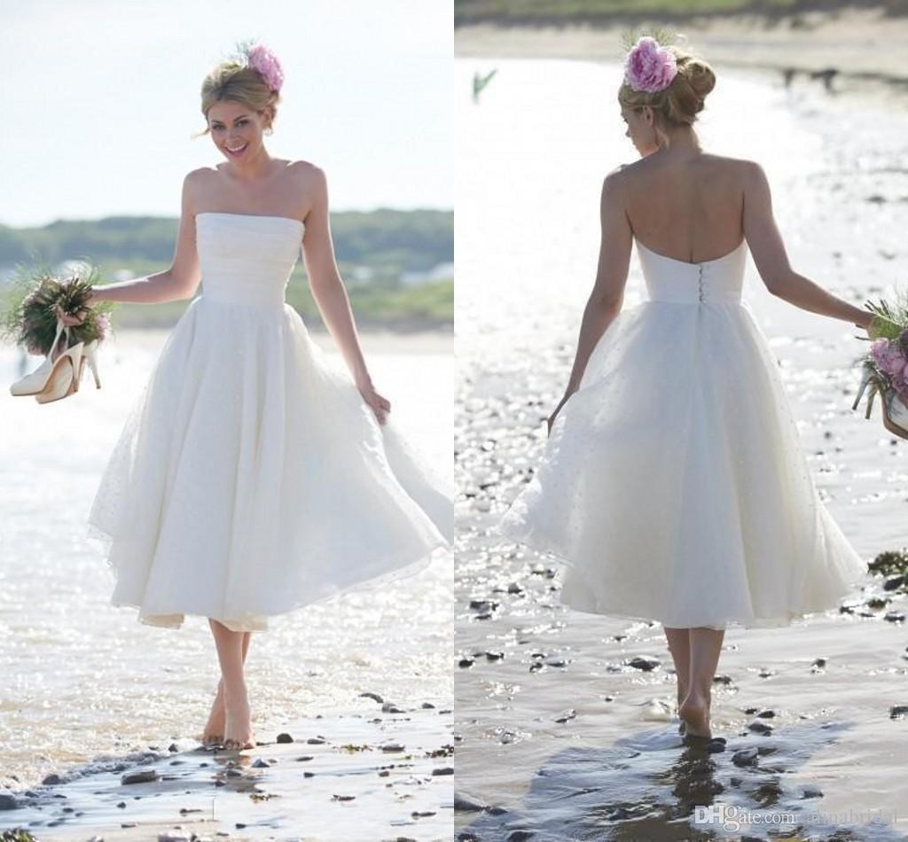 Vit kort strand bröllopsklänningar med polka dot spets en linje te längd straples tillbaka knapp elegant brudklänning skräddarsydda