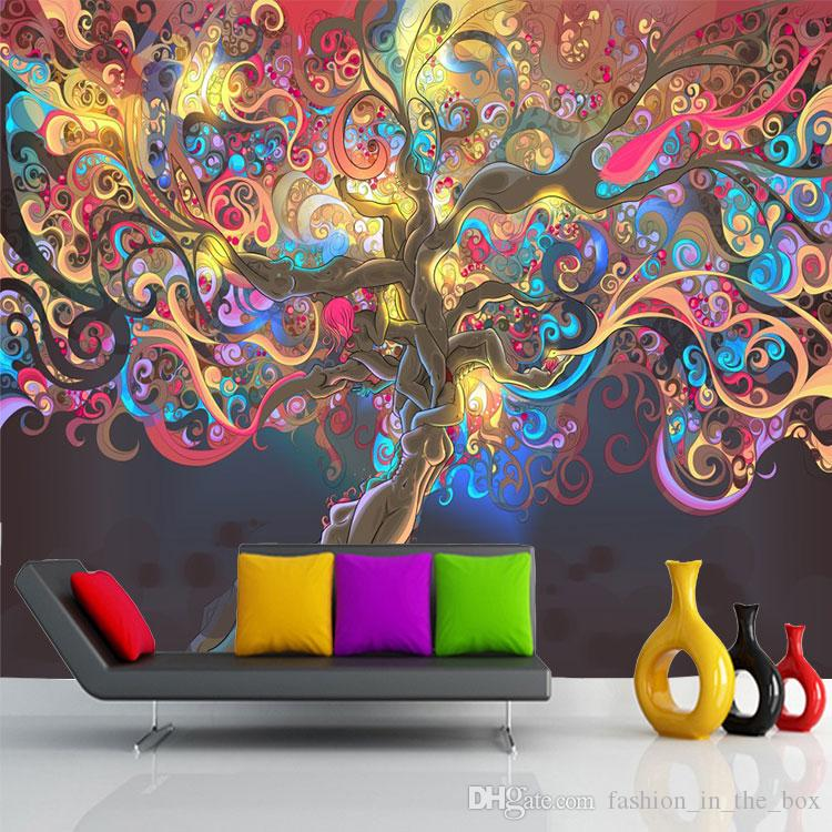 Tree Of Life Photo Wallpaper Psychedelic Wallpaper Custom 3d Wall Mural Art  Bedroom Hotel Bar Shop Art Room Decor Natural Scenery Wallpaper Cell Phone  ...