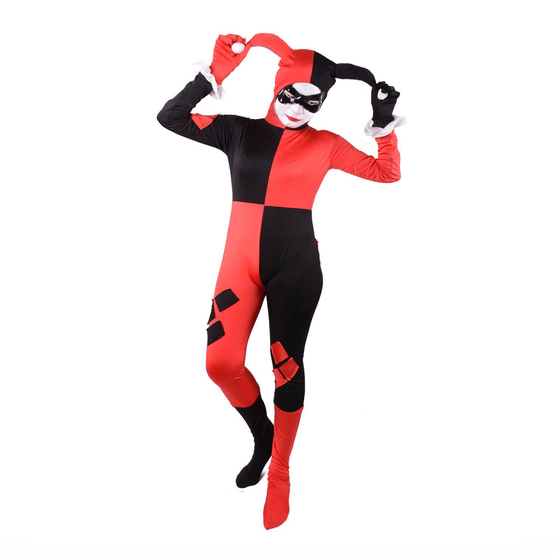 Trajes de Harley Quinn payaso mono adultos sexy rojo superhéroe payaso Cosplay spandex traje completo fiesta disfraces de Halloween para mujeres personalizado