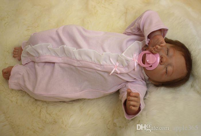 50cm/20inch Life like cute Newborn Handmade Reborn Baby Doll Girl Soft Gentle Touch Cloth Body Soft Vinyl silicone Magnetic pacifier