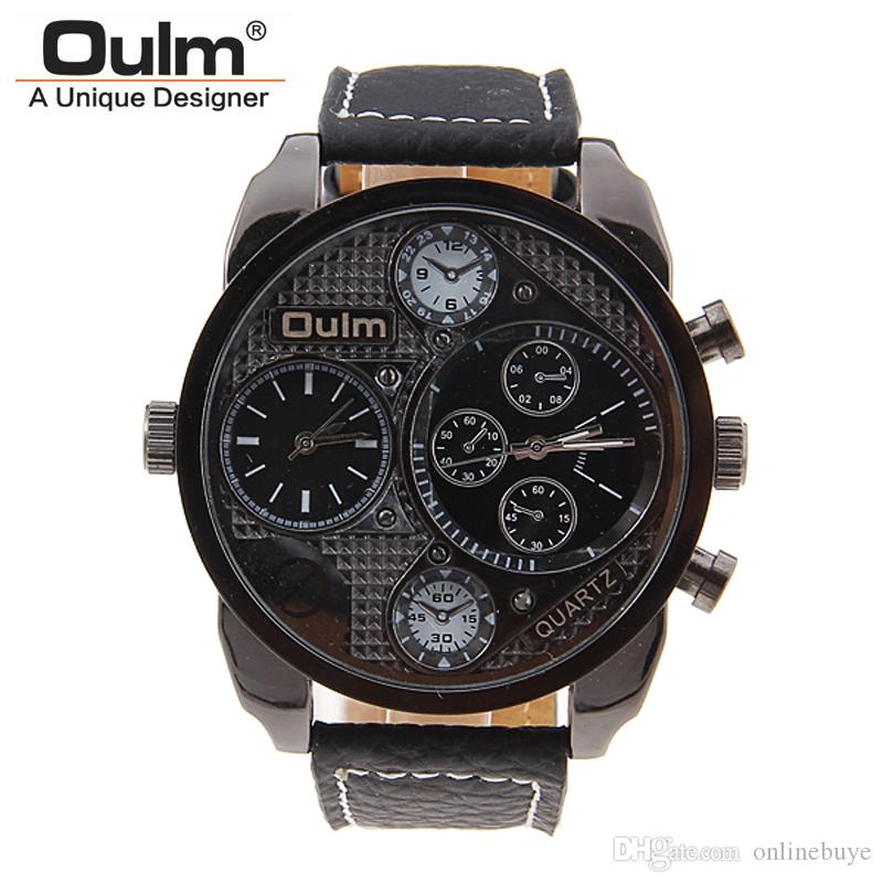 341e7aa2a9c Brand OULM Men Watch Leather Strap Quartz Watch 30M Waterproof Multiple  Time Zone Militar Sports Business Watches Relogios Masculino Wrist Watchs  Best ...