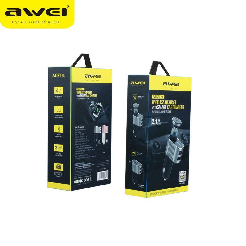 Original Awei A871BL Wireless Bluetooth Car Speakerphone Headphones Super Mini In-Ear Earphone Headset Handsfree With MIC for Smart Phones