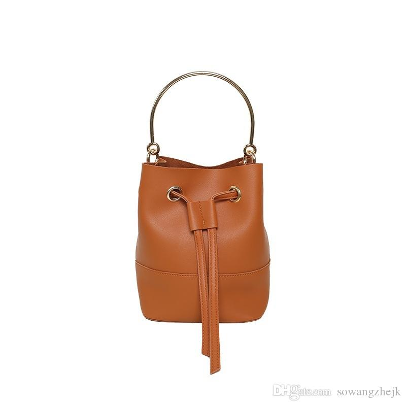 Current Fashion Draw String Picture Package Bucket Female Bag 2017