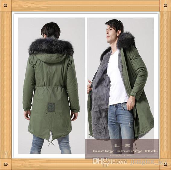 New European Men S Hooded Coat In The Long Green Army Jacket Army Green  Warm Long Coat Male Black Collars Rabbit FUR Mens Fall Coat Coat Clothing  From ... dbececdc1173