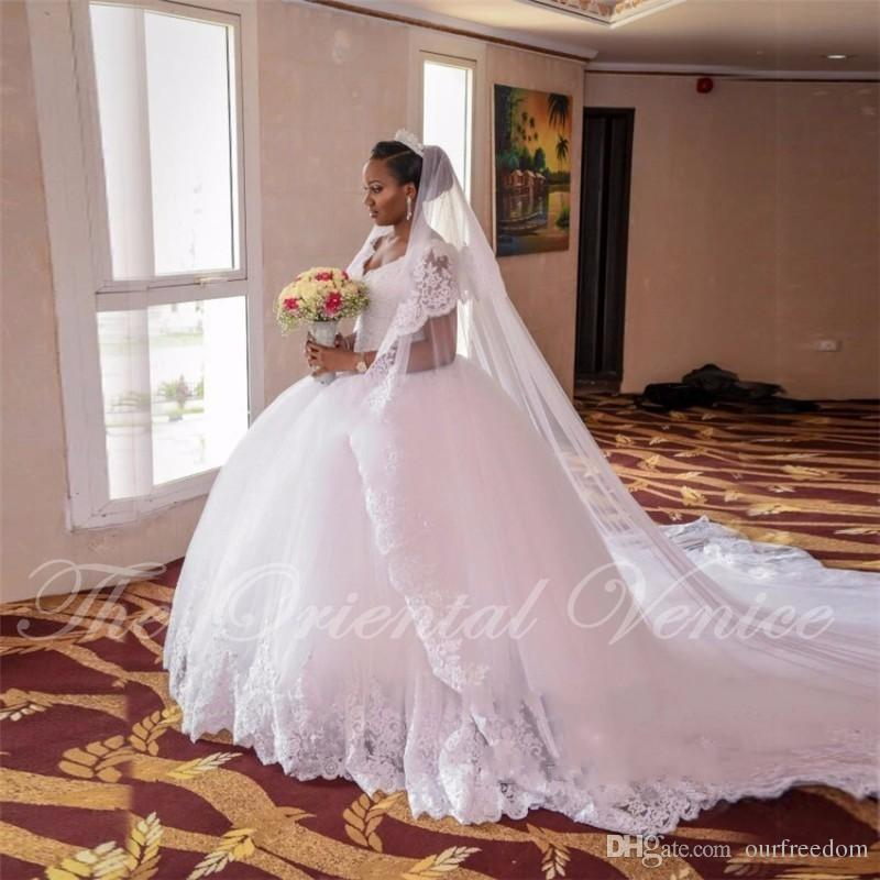 2019 Luxury Lace Ball Gown African Wedding Dress Custom Made Plus Size Chapel Train Nigerian Style Wedding Gowns Casamento For Country