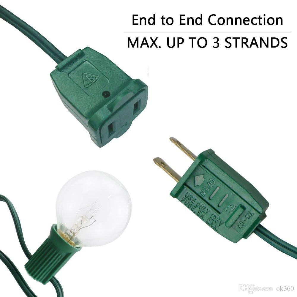 Luces decorativas para exteriores con luces de cadena de 25 Ft y globo transparente G40 con 25 bombillas G40 Luces navideñas de luz con fusible para proteger la lámpara