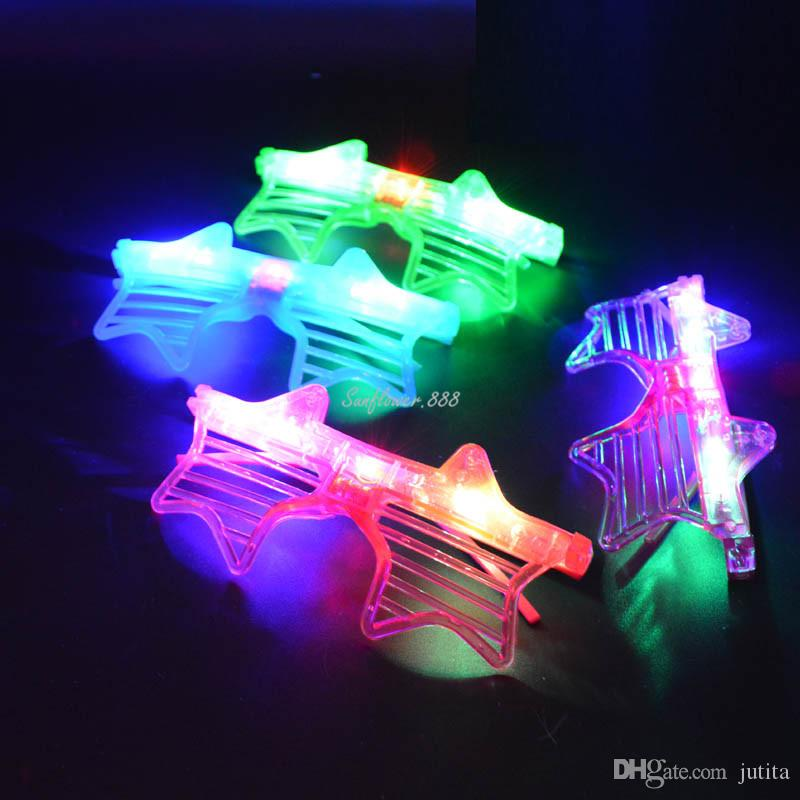Adult Kids LED Light Up Party Shutter Glasses Glowing Flashing Eye Glasse Star Shape Party Supplies