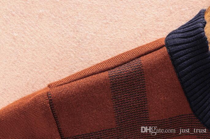 Горячие продажи Повседневного половина молнии Повседневных мужской перемычка пуловер плюс размера M ~ 3xl Известного популярного американского Embroidey пчела логотип кашемир плед мужского свитера