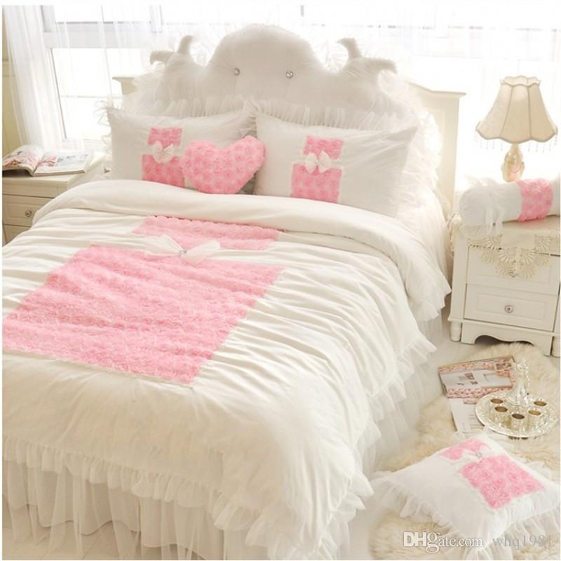 korean pink rose princess bedding sets queen king lace ruffles white quiltduvet cover bed skirt bedspread bedclothes bed linen cotton designer comforter