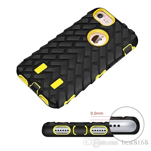 Robot Tyre Hard Shockproof Case For iphone X/8/7/Plus/6 6S/SE 5 5S Tire Rough Rugged Hybrid Cover Dual 2in1 Plastic+Silicone Armor Defender