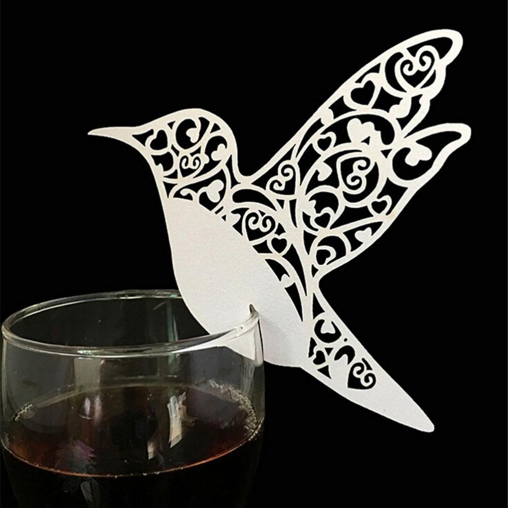 50 قطع الليزر قطع الطيور النبيذ الزجاج بطاقة اسم مكان مرافقة بطاقات عيد الطفل دش حزب زينة الزفاف الحسنات
