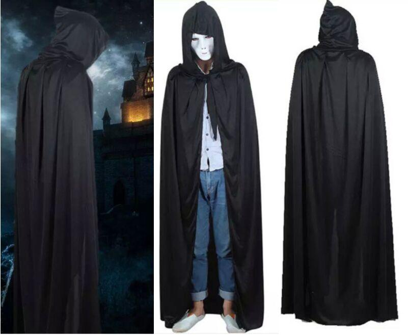 Halloween Costume knitted fabric Theater Prop Death Hoody Cloak Devil Long Tippet Cape Black Free FedEx DHL