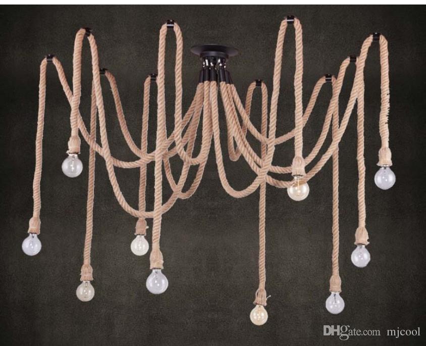 10 E27 Rope DropLight Edison Bulbs Vintage Net Spider Chandeliers Dining Room Ceiling Pendant Creative Bar Lamp DIY Cafe Fairy lights