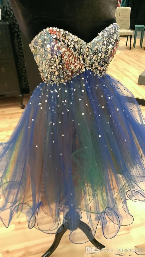 Короткие мини блестками платья выпускного вечера линии органзы возлюбленной Sexu Bling младших женщин платья партии бисером Пром платья