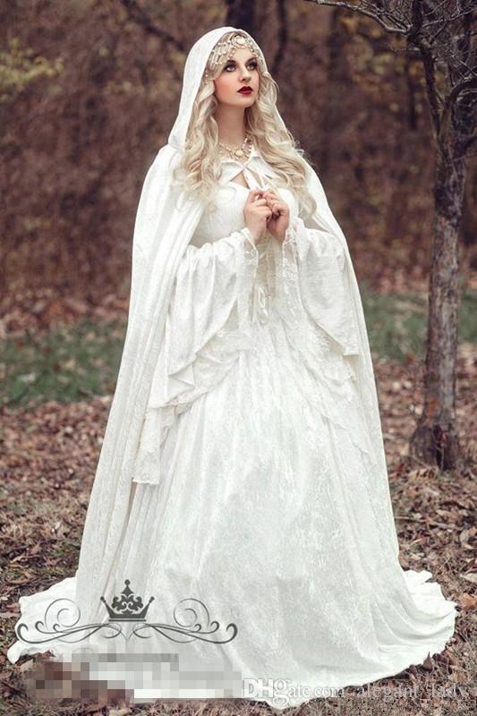 Renaissance Gothic Lace Ball Gown Wedding Dresses With Cloak Plus Size Vintage Bell Long Sleeve Celtic Medieval Princess Bridal Gown