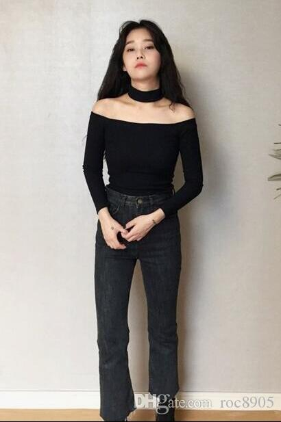 Even neck collar sexy strapless care unit was thin tight bottoming shirt female long-sleeved T-shirt women
